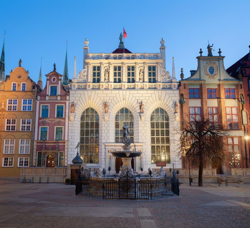 Fonte do Netuno na cidade velha de Gdansk, Polônia imagens de stock royalty free