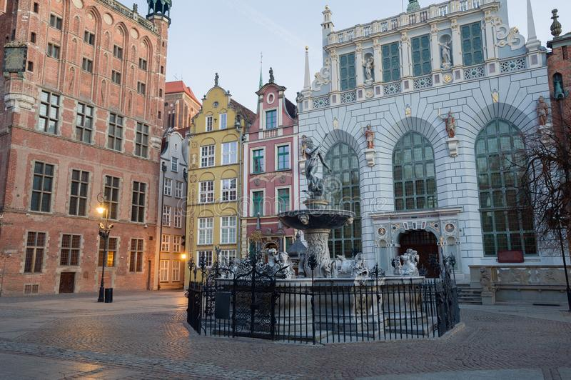 Fonte do Netuno na cidade velha de Gdansk, Pol?nia imagem de stock royalty free