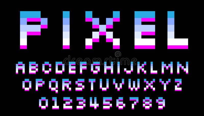 Fonte do pixel 8 letras e n?meros do bocado ilustração do vetor