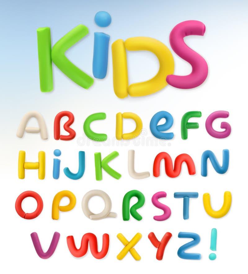 fonte do plástico 3d Crianças e vetor da escola ilustração stock