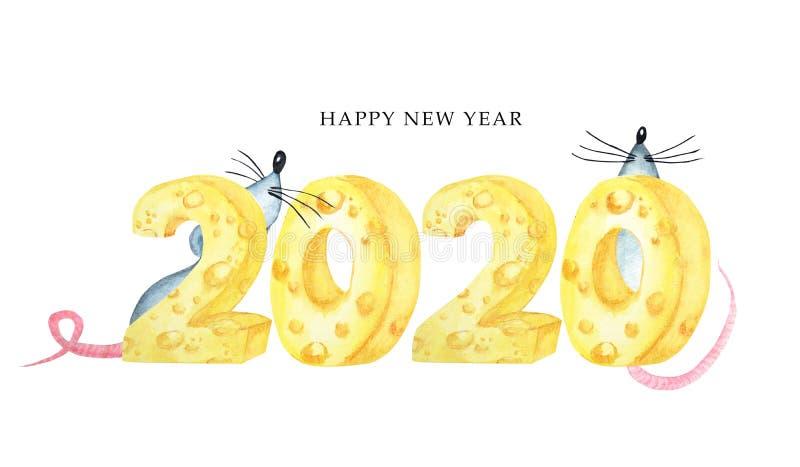 fonte 2020 do queijo Ilustra??o tirada m?o da aguarela Ano novo do rato chinês feliz fotografia de stock