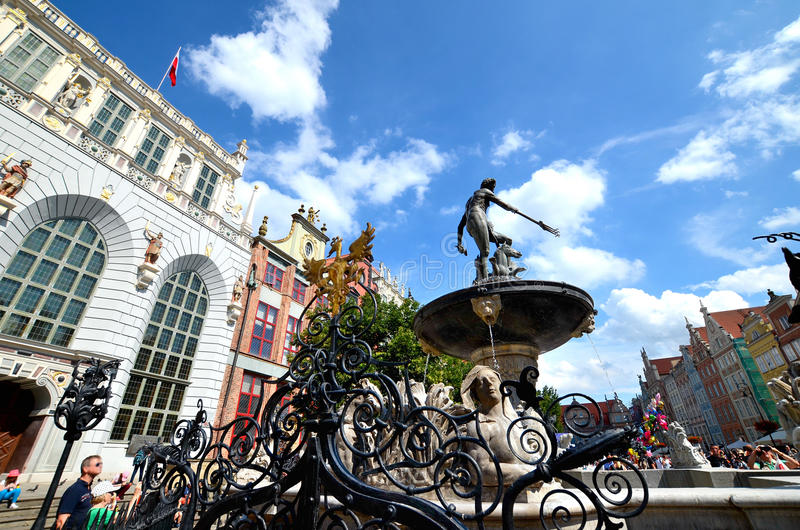 Fonte do ` s de Netuno, Gdansk fotografia de stock royalty free