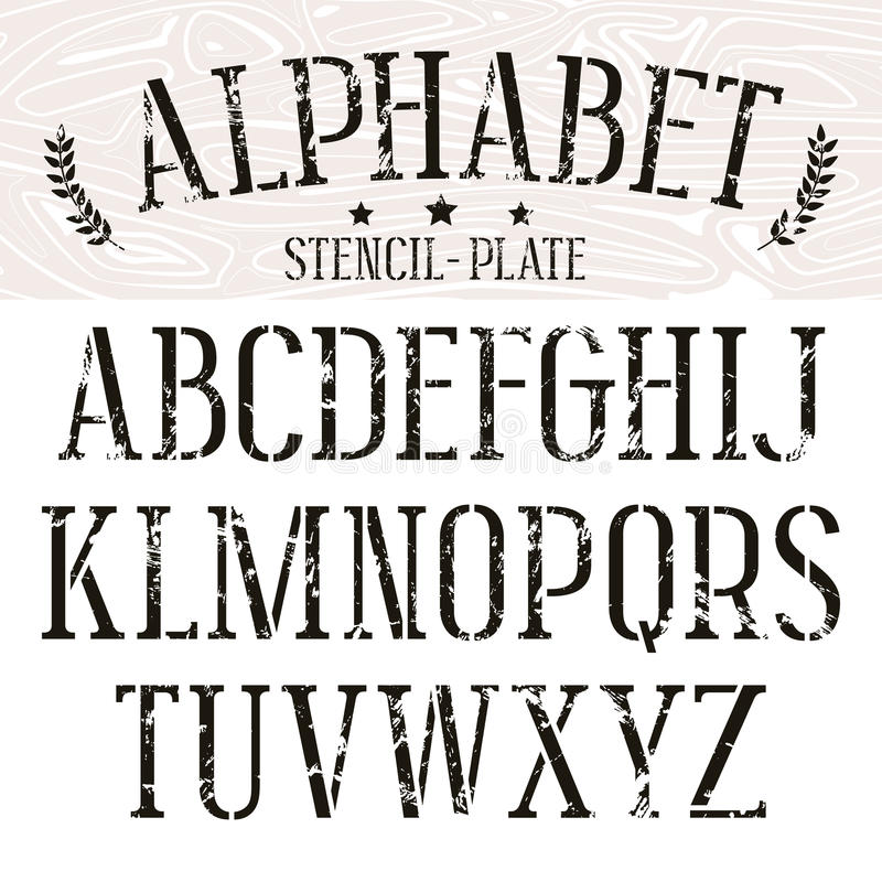 fonte do serif da Estêncil-placa ilustração royalty free
