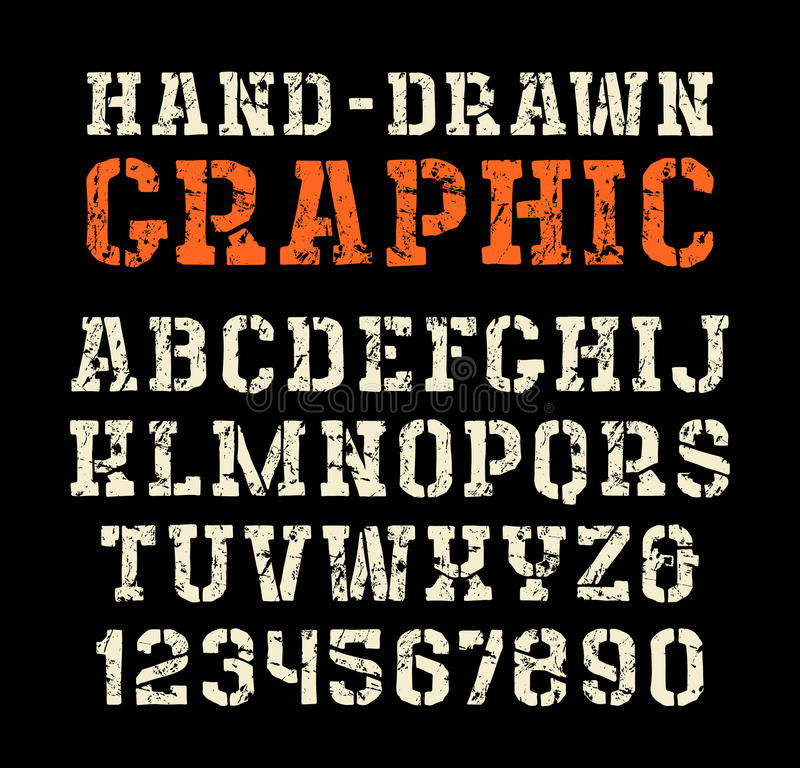 fonte do serif da Estêncil-placa ao estilo dos gráficos feitos a mão ilustração do vetor