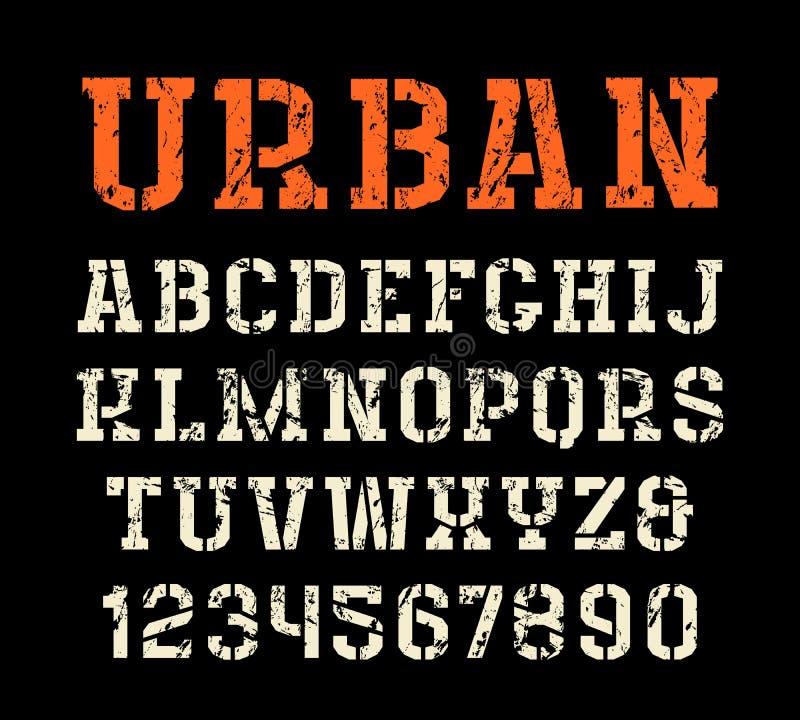 fonte do serif da Estêncil-placa no estilo urbano ilustração royalty free