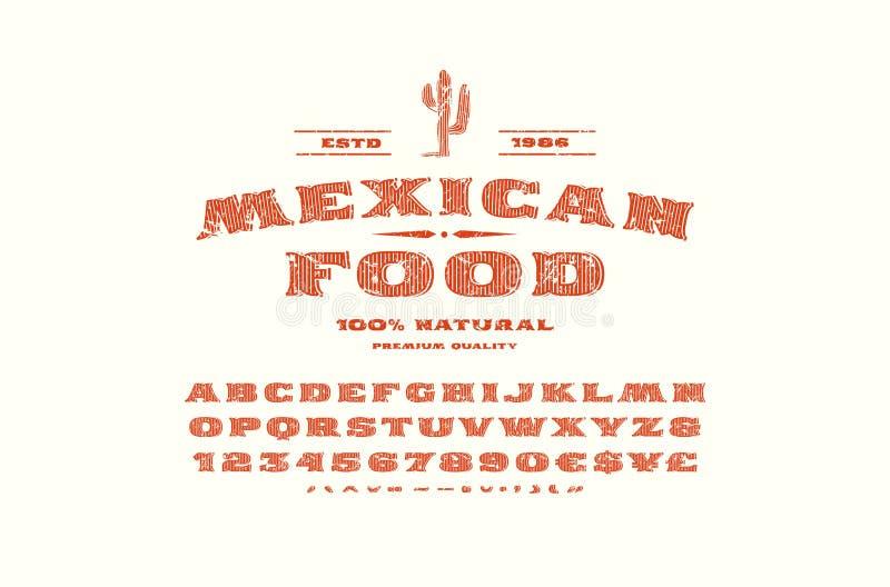 Fonte do serif e molde decorativos da etiqueta para o restaurante mexicano ilustração stock