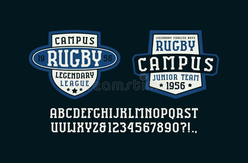 Fonte do Serif nos crachás do estilo e do rugby do esporte para o t-shirt ilustração royalty free