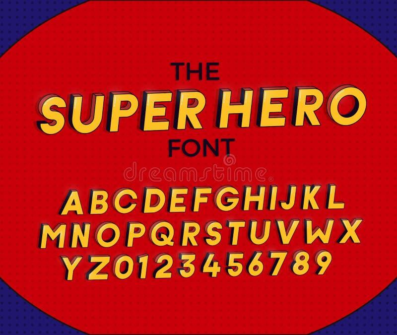 A fonte do super-herói Projeto da ilustra??o 3d do vetor As letras e os números projetam com efeito da banda desenhada dos super- imagens de stock