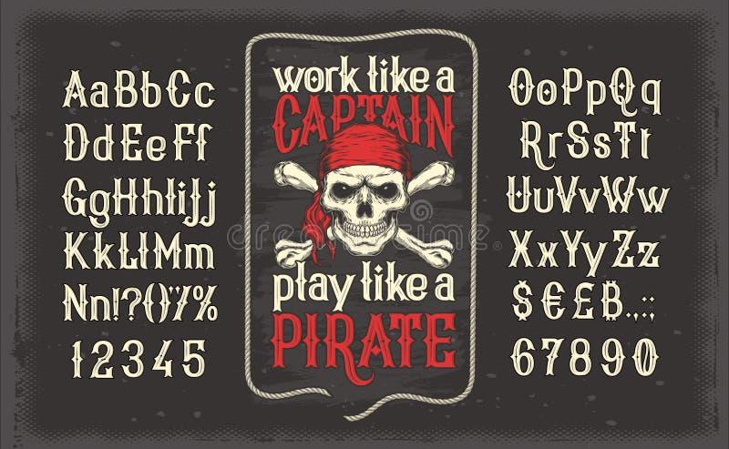 Fonte do vintage de letras e de números com um quadro e um crânio do pirata ilustração royalty free