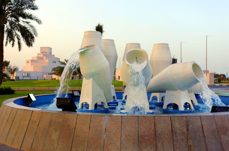 Fonte 2017 do waterpot de Doha fotografia de stock