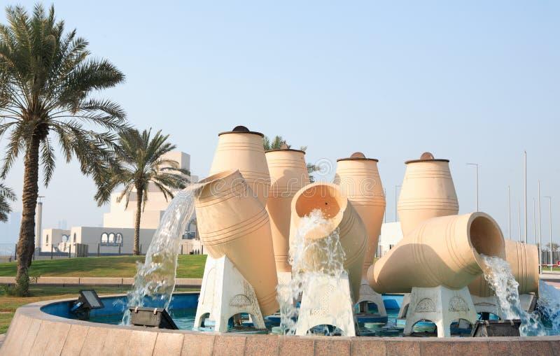 Fonte Doha do potenciômetro da água foto de stock royalty free