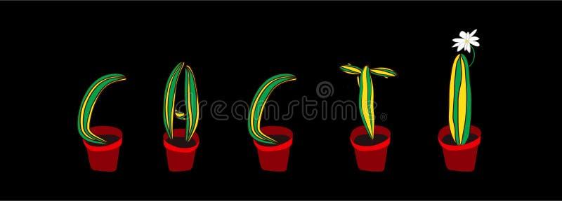 Fonte dos cactos Letra botânica suculento ilustração royalty free