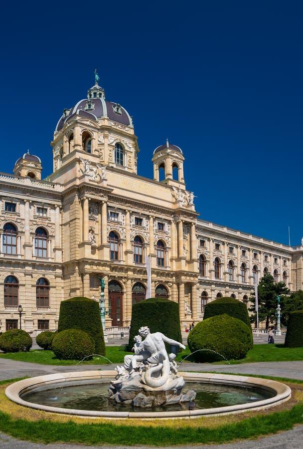 Fonte dos Tritons e das náiades com o museu da história natural no fundo Viena, Áustria fotografia de stock