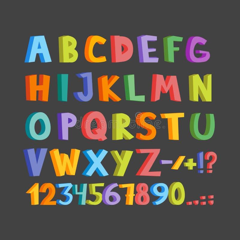 Fonte drôle de bandes dessinées Lowcase tiré par la main et lettres colorées majuscules d'alphabet anglais de bande dessinée Illu illustration stock