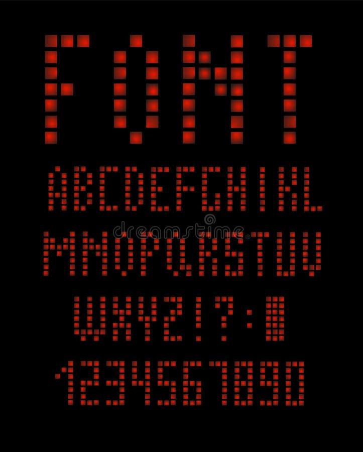 Fonte e alfabeto abstratos do apocalipse da tecnologia projetos do logotipo do efeito do techno Conceito digital do espaço da tip ilustração do vetor