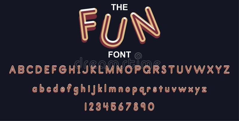 Fonte e alfabeto do divertimento com números Projeto de letra da tipografia do vetor ilustração royalty free