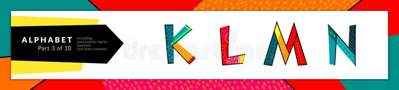 Fonte e alfabeto O vetor estilizou k colorido, l, m, grupo das letras de n Projeto e ilustra??o da tipografia Fonte funky e ilustração royalty free