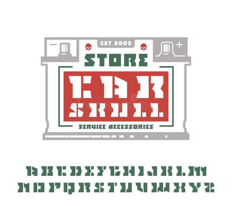 A fonte e o carro quadrados do serif da estêncil-placa prestam serviços de manutenção ao emblema ilustração royalty free