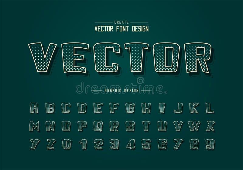 Fonte e vetor alfabético do círculo de meio tom, desenho em negrito do desenho numérico ilustração stock