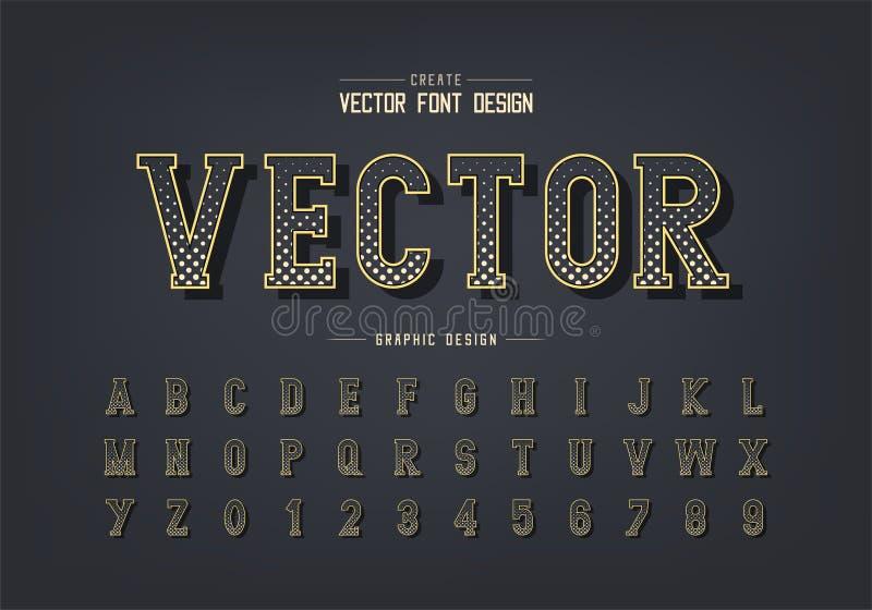 Fonte e vetor alfabético do círculo de meio tom, letra de tipo de escrita digital e design de número ilustração royalty free