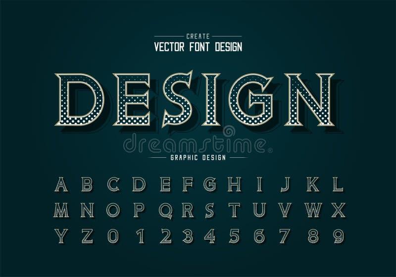 Fonte e vetor alfabético do círculo de meio tom, letra de tipo de ideia digital e design de número ilustração royalty free