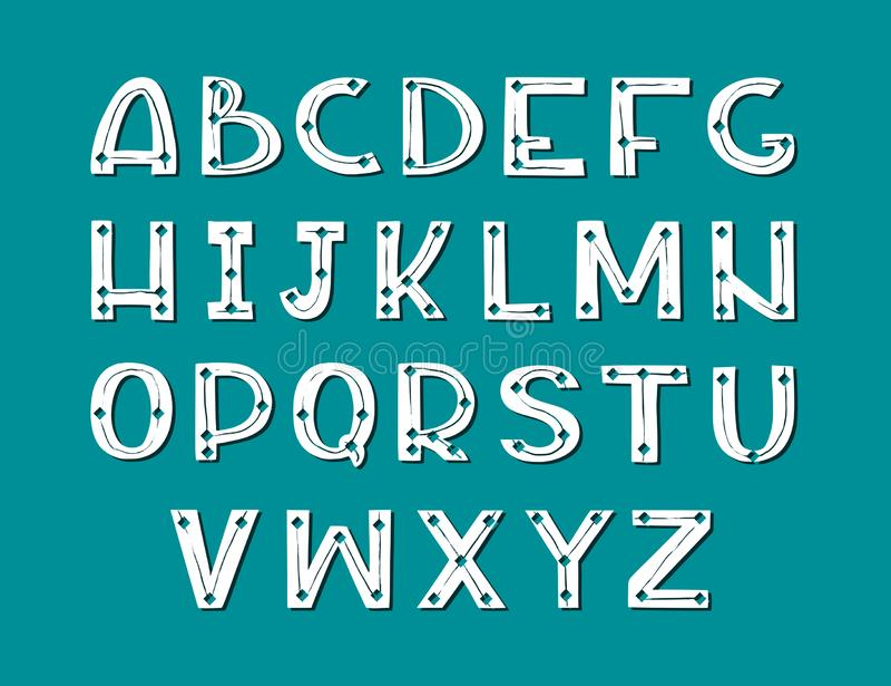 Fonte escandinava tirada m?o da arte Alfabeto branco no fundo escuro ilustração do vetor