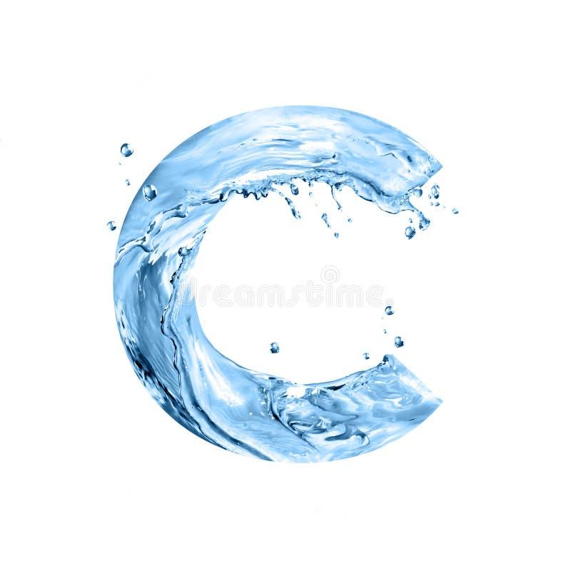 A fonte estilizado, texto feito da água espirra, a letra principal c, é ilustração royalty free