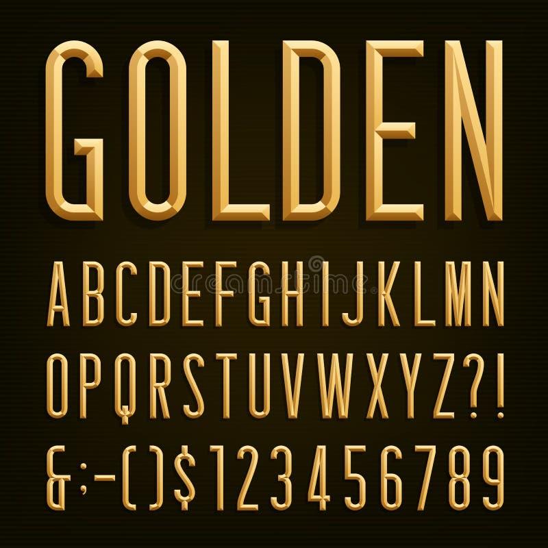 Fonte estreita chanfrada dourada Alfabeto do vetor ilustração stock