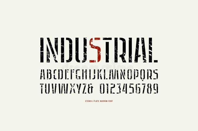 Fonte estreita de Sans Serif da estêncil-placa conservada em estoque do vetor ilustração stock