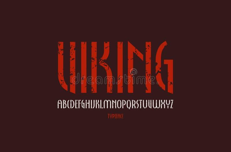 fonte estreita de Sans Serif da Estêncil-placa no estilo gótico novo ilustração stock