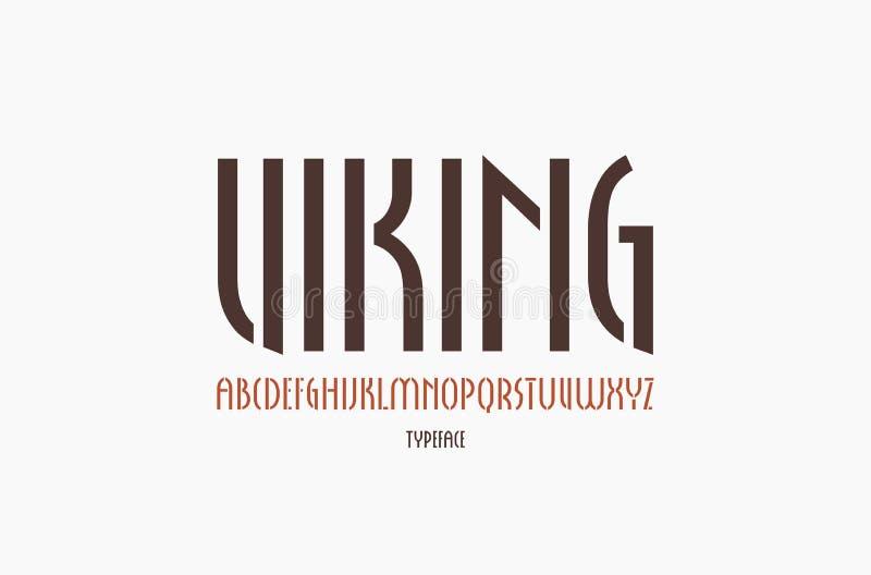 fonte estreita de Sans Serif da Estêncil-placa no estilo gótico novo ilustração do vetor