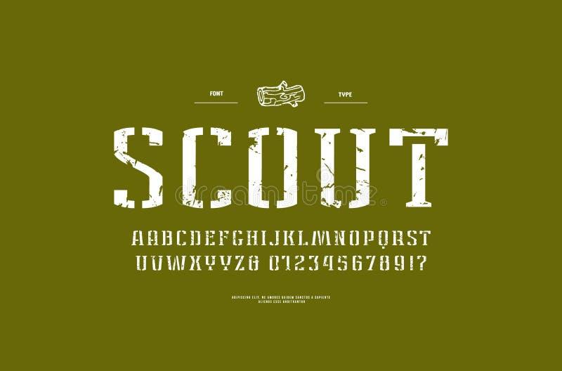 fonte estreita do serif da Estêncil-placa no estilo militar ilustração do vetor
