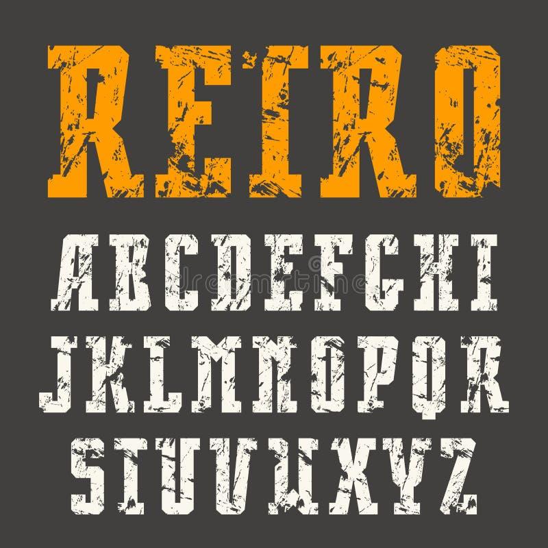 Fonte estreita do serif da laje no estilo retro com textura gasto ilustração stock