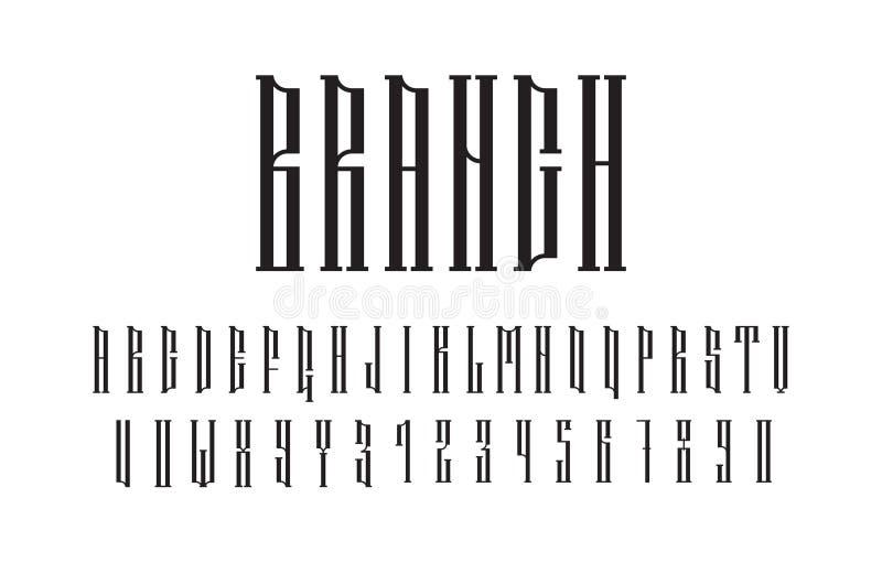 Fonte etnica dei caratteri tipografici con grazie di vettore Simboli audaci di alfabeto stilizzato autentico dello slavo royalty illustrazione gratis