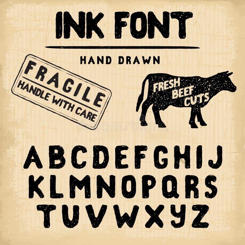 Fonte fatta a mano del timbro a umido Impronta scritta a mano illustrazione di stock