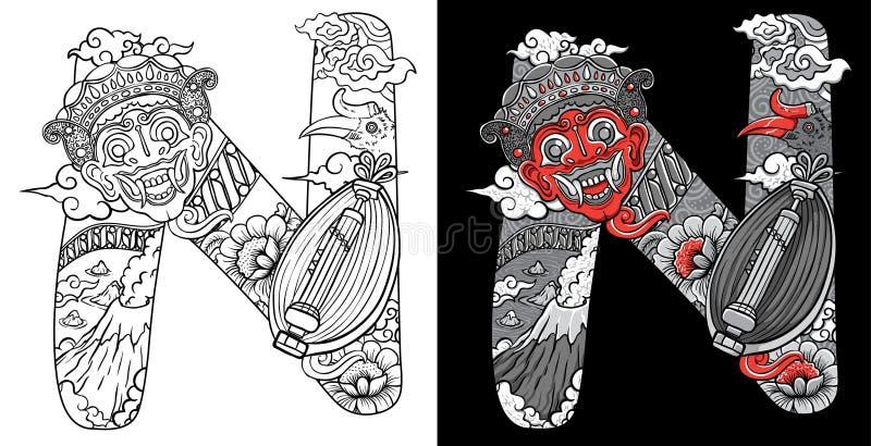 A fonte feita sob encomenda rabisca a máscara da ilustração e o sasando tradicional da música de Indonésia ilustração royalty free