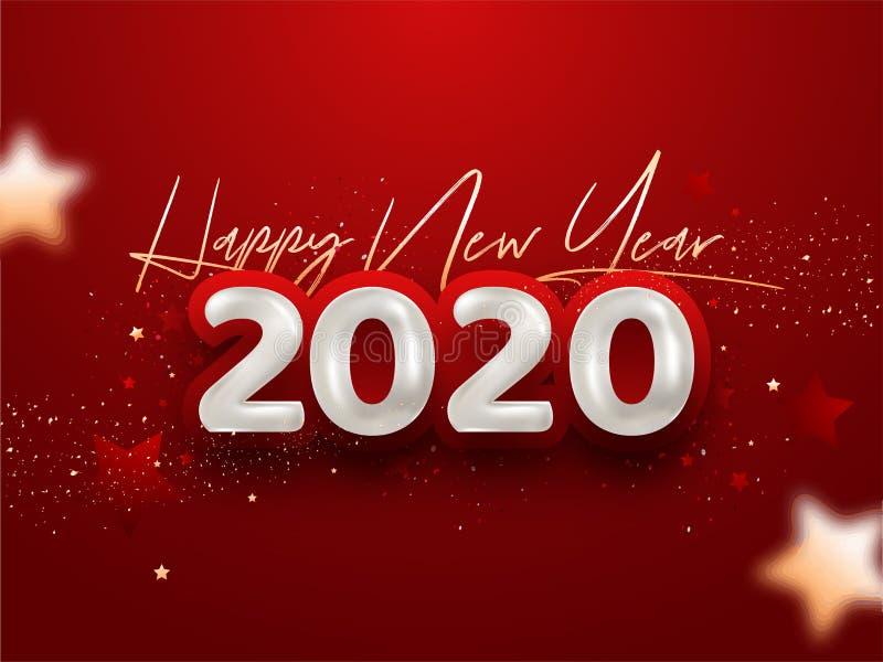 Fonte feliz do ano novo 2020 em cores douradas e brancas e Confetti decorada ilustração royalty free