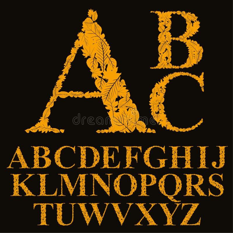 Fonte floral feita com folhas, letras naturais do alfabeto ilustração royalty free