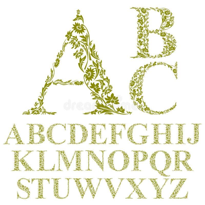 Fonte floreale delle lettere di stile d'annata, alfabeto di vettore illustrazione di stock