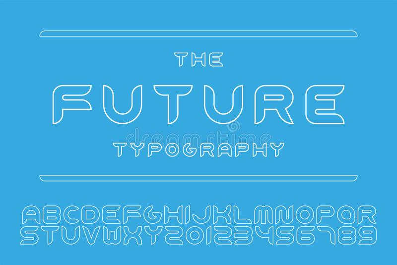 Fonte futurista do desenhista do vetor - projeto mínimo Alfabeto inglês do contorno Letras e numerais de latino do esboço ilustração stock