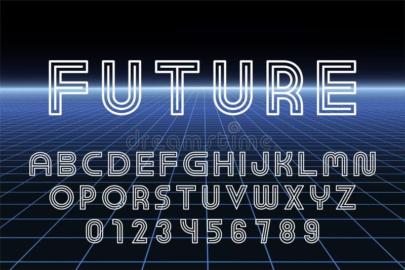 Fonte futurista do desenhista do vetor - projeto mínimo Alfabeto inglês do contorno Letras e numerais listrados de latino ilustração do vetor