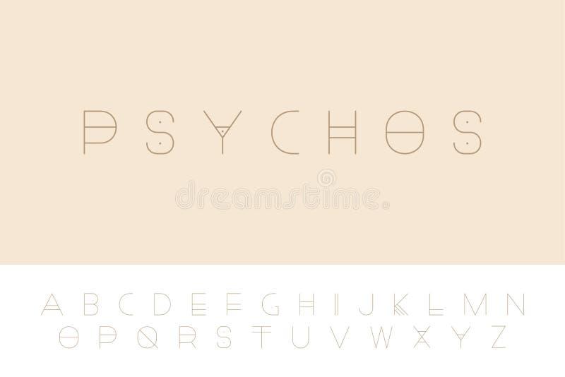 Fonte futurista do vetor - projeto minimalistic Alfabeto inglês moderno, letras de latino finas ilustração stock