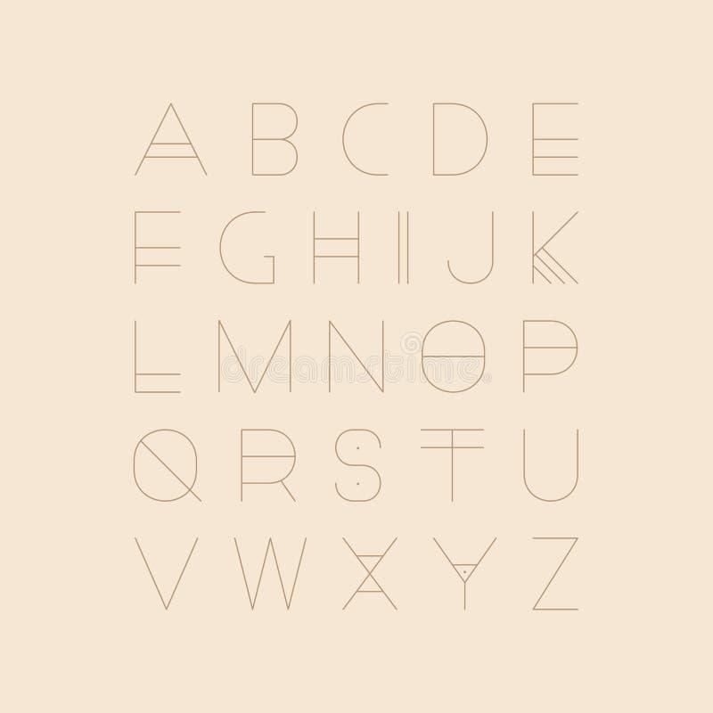 Fonte futurista do vetor - projeto minimalistic Alfabeto inglês moderno, letras de latino finas ilustração royalty free