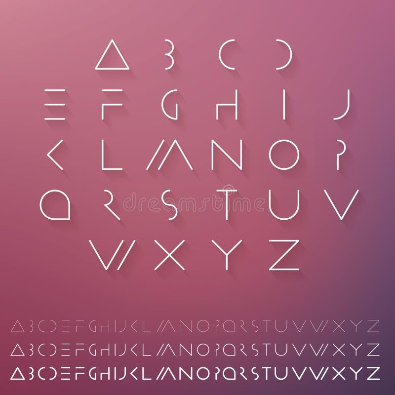 Fonte futurista mínima Caráter tipo do moderno O calendário do alfabeto set Letras claras elegantes ilustração do vetor