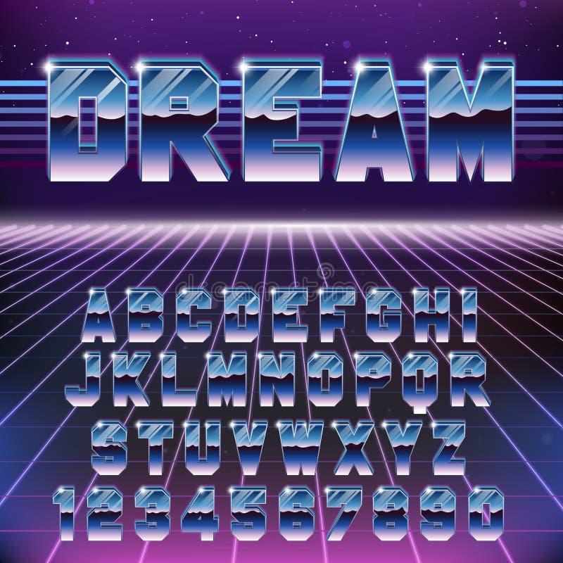 Fonte futurista retro brilhante de Chrome Alfabeto retro à moda da onda de Synth no estilo 80s ilustração stock