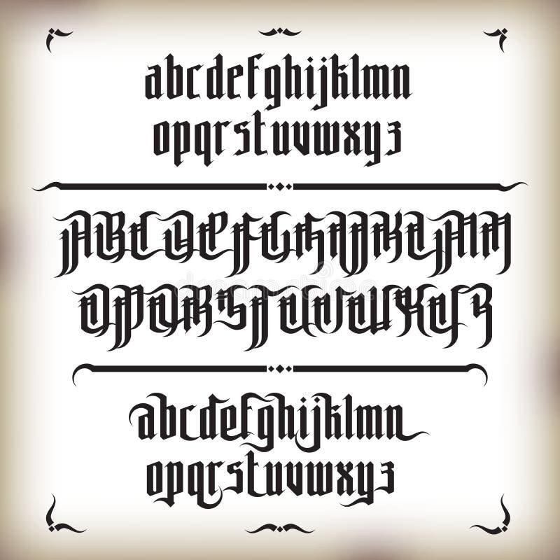 Fonte gótico moderna ilustração do vetor