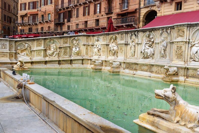 Fonte Gaïa est fontaine monumentale en Piazza del Campo à Sienne l'Italie images stock