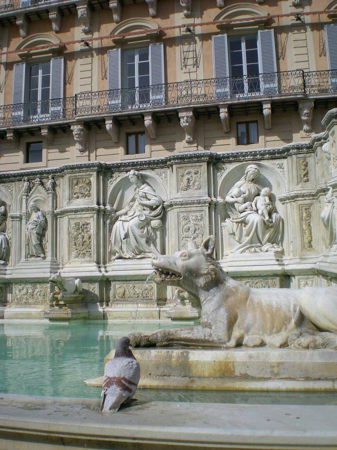 Fonte Gaia (fuente de la alegría) en Siena Italia, Europa imágenes de archivo libres de regalías