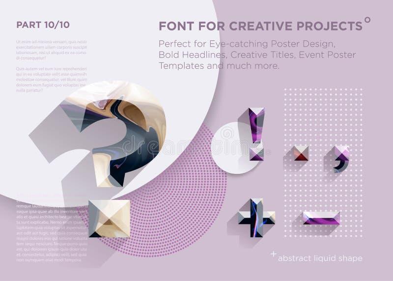 Fonte geométrica abstrata simples Aperfeiçoe para título corajosos, projetos do cartaz, títulos criativos, molde do cartaz do eve foto de stock