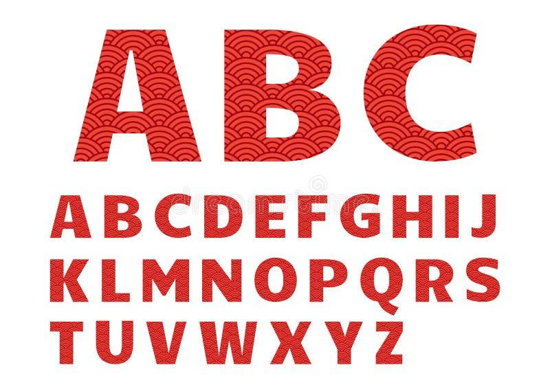 Fonte grafica rossa, alfabeto con il modello cinese Vettore illustrazione di stock